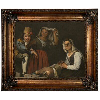 'Four Figures on a Step 1655' Framed Graphic Art Print on Canvas Size: 22.25