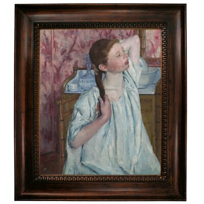 'Girl Arranging Her Hair 1886' by Mary Cassatt Framed Graphic Art Print on Canvas Size: 31