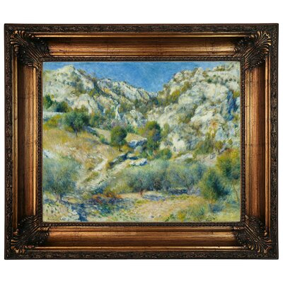 'Rocky Crags at Lestaque' by Pierre-Auguste Renoir Framed Graphic Art Print on Canvas Size: 22.25