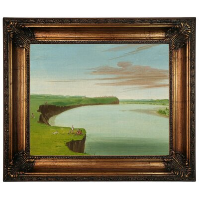 'Distant View of the Mandan Village 1832' Framed Graphic Art Print on Canvas Size: 22.25