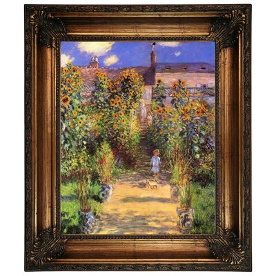 'Monets Garden in Vetheuil' by Claude Monet Framed Graphic Art Print on Canvas Size: 26.25