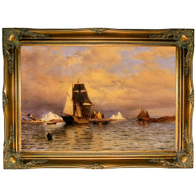 'Looking out of Battle Harbor 1877' Framed Graphic Art Print on Canvas Format: Ornate Gold Frame