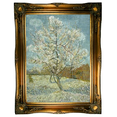 'The Pink Peach Tree 1888' by Vincent Van Gogh Framed Graphic Art Print on Canvas