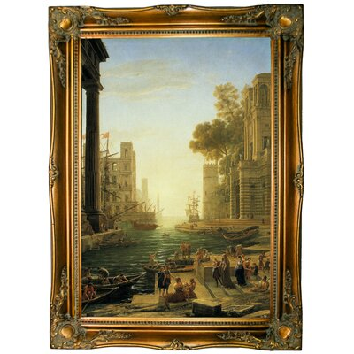 'Landscape with the Embarkment of Saint Paula Romana in Ostia' Framed Graphic Art Print on Canvas Format: Ornate Gold Frame