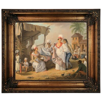 'Market Day Roseau Dominica 1780' Framed Graphic Art Print on Canvas Size: 22.25