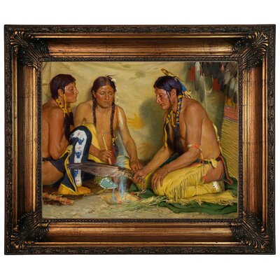 'Making Sweet Grass Medicine, Blackfoot Ceremony 1920' Framed Graphic Art Print on Canvas Size: 22.25
