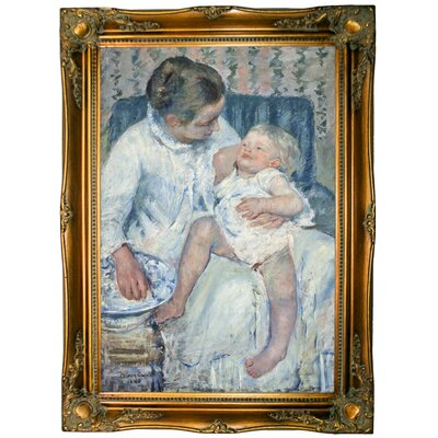 'Mother about to Wash Her Sleepy Child' by Mary Cassatt Framed Graphic Art Print on Canvas Format: Ornate Gold Frame