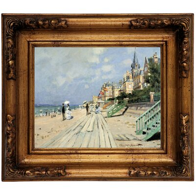 'Beach at Trouville' by Claude Monet Framed Graphic Art Print on Canvas Size: 12.5