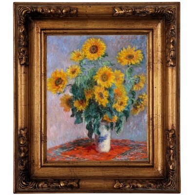 'Sunflowers' by Claude Monet Framed Graphic Art Print on Canvas Size: 14.5