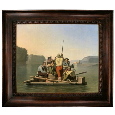 'Lighter Relieving a Steamboat Aground 1847' Framed Graphic Art Print on Canvas Size: 27