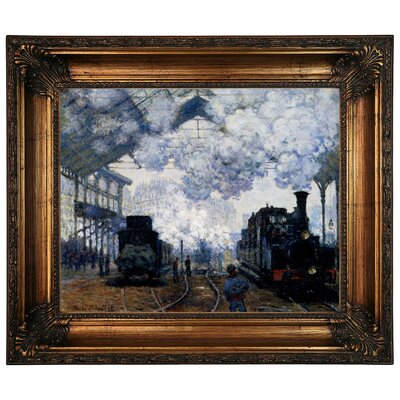 'Station Saint Lazare in Paris' by Claude Monet Framed Graphic Art Print on Canvas Size: 10.75
