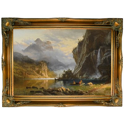 'Indians Spear Fishing 1862' Framed Graphic Art Print on Canvas Format: Ornate Gold Frame