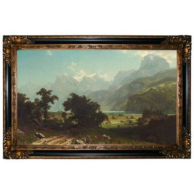 'Lake Lucerne 1858' Framed Graphic Art Print on Canvas Format: Gold/Black Frame