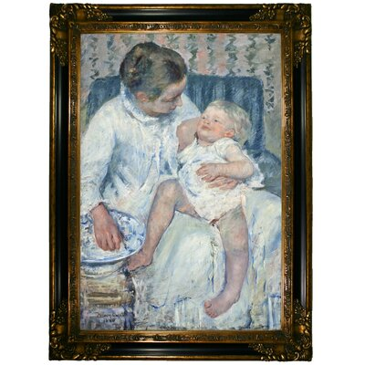 'Mother about to Wash Her Sleepy Child' by Mary Cassatt Framed Graphic Art Print on Canvas Format: Gold/Black Frame