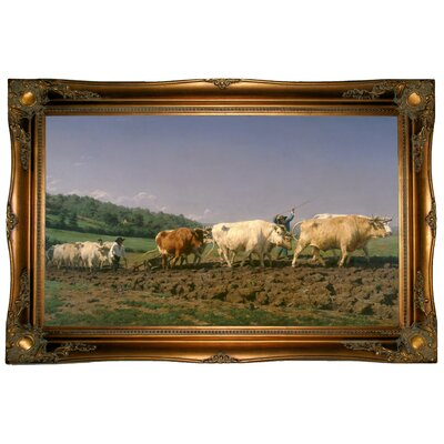 'Ploughing in Nevers 1849' Framed Graphic Art Print on Canvas Size: 24.5