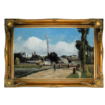 'Banks of the Oise at Pontoise 1867' by Camille Pissarro Framed Graphic Art Print on Canvas