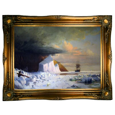 'An Arctic Summer: Boring though the Pack in Melville Bay 1871' Framed Graphic Art Print on Canvas