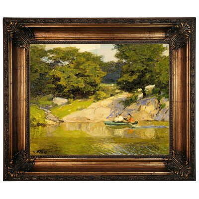 'Boating in Central Park 1900' Framed Graphic Art Print on Canvas Size: 22.25