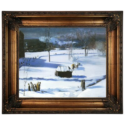 'Blue Snow, The Battery 1910' Framed Graphic Art Print on Canvas Size: 22.25
