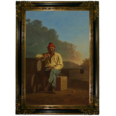 'Mississippi Boatman 1850' Framed Graphic Art Print on Canvas Size: 15.25