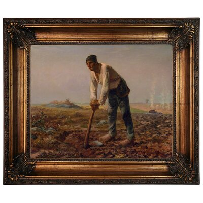'Man with a Hoe 1860' Framed Graphic Art Print on Canvas Size: 22.25