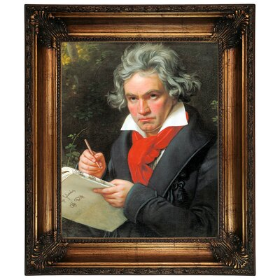 'Portrait of Ludwig van Beethoven When Composing the Missa Solemnis' Framed Graphic Art Print on Canvas Size: 26.25