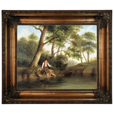 'Man Fishing 1848' Framed Graphic Art Print on Canvas Size: 22.25