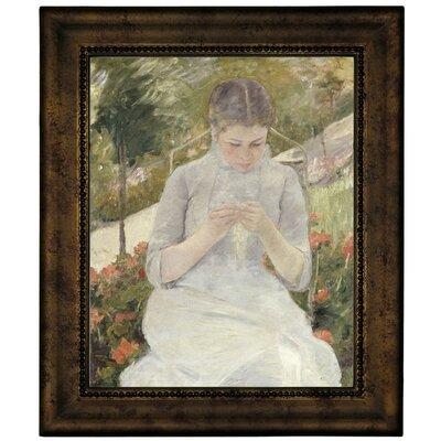 'Girl in the Garden' by Mary Cassatt Framed Canvas Print Size: 12.75