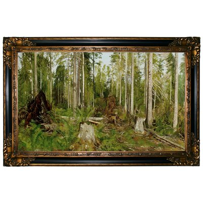 'Pine Forest A Study 1890's' Framed Graphic Art Print on Canvas Size: 24.25