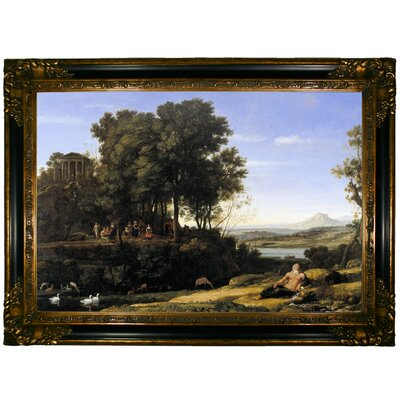 'Landscape with Apollo and the Muses 1652' Framed Graphic Art Print on Canvas Format: Gold/Black Frame