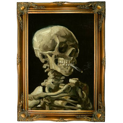 'Head of a skeleton with a burning cigarette 1886' by Vincent van Gogh Framed Graphic Art Print on Canvas