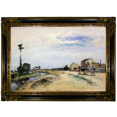 'Little Channel Along the Seine at Meudon 1865' Framed Graphic Art Print on Canvas Format: Gold/Black Frame