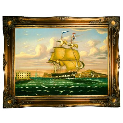 'Packet Ship Passing Castle Williams, New York Harbor' Framed Graphic Art Print on Canvas