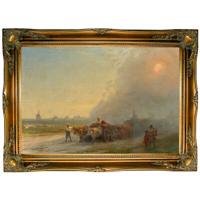 'Ox-carts in the Ukrainian Steppe 1888' by Framed Graphic Art Print on Canvas Size: 24.5