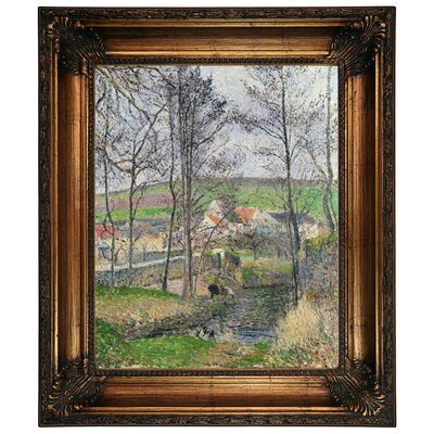 'The Banks of the Viosne at Osny in Gray Weather, Winter 1883' by Camille Pissarro Framed Graphic Art Print on Canvas Size: 26.25