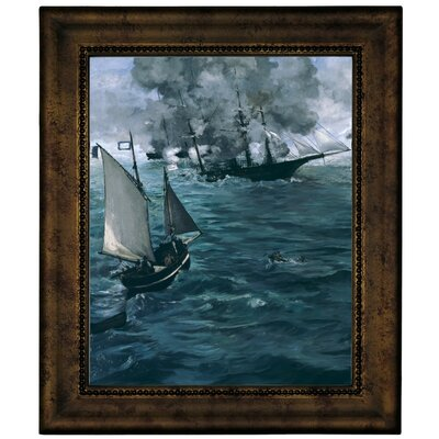 'The Battle of the U.S.S. Kearsarge and the C.S.S. Alabama 1864' by Edouard Manet Framed Graphic Art Print on Canvas Size: 12.75