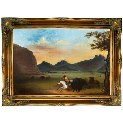 'Buffalo Hunt 1839' Framed Graphic Art Print on Canvas Size: 24.5