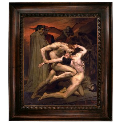 'Dante and Virgil in Hell' Graphic Art Print on Canvas Format: Dark Gold Frame, Size: 31