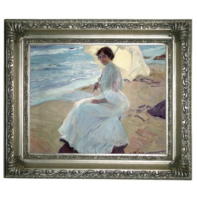 'Clotilde on the Beach 1904' Framed Graphic Art Print on Canvas Size: 11