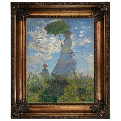 'On The Rock Cliff Madame Monet and Her Son Jean' by Claude Monet Framed Graphic Art Print on Canvas Size: 26.25