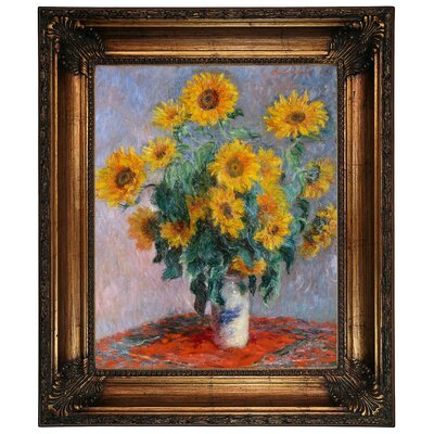'Sunflowers' by Claude Monet Framed Graphic Art Print on Canvas Size: 26.25