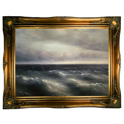 'The Black Sea - A storm begins to whip up in the Black Sea 1881' Framed Graphic Art Print on Canvas