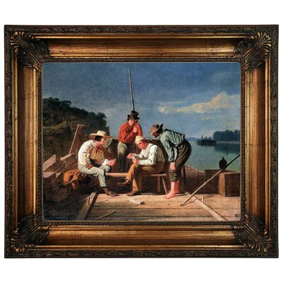 'In a Quandary or Mississippi Raftsmen at Cards 1851' Framed Graphic Art Print on Canvas Size: 22.25