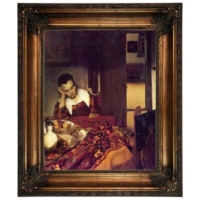 'A Women Asleep' by Johannes Vermeer Framed Graphic Art Print on Canvas Size: 26.25