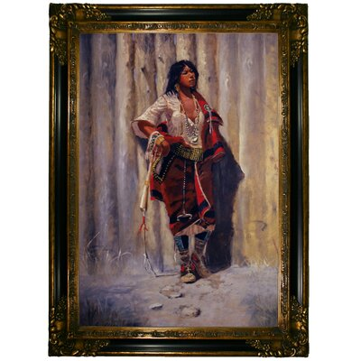 'Indian Maid at Stockade' Framed Graphic Art Print on Canvas Size: 33.25