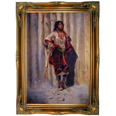 'Indian Maid at Stockade' Framed Graphic Art Print on Canvas Size: 33.5