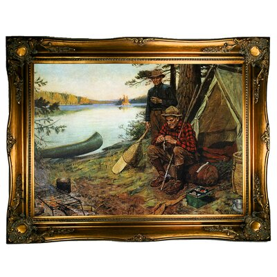 'Fishermen at Camp' Framed Graphic Art Print on Canvas