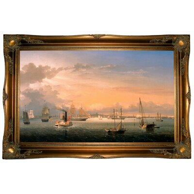 'Boston Harbor 1854' Framed Graphic Art Print on Canvas Size: 24.5