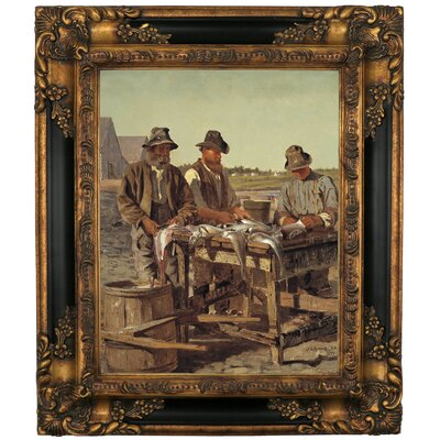 'Cleaning Fish 1877' Framed Graphic Art Print on Canvas Size: 19.25