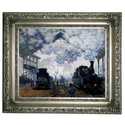 'Station Saint Lazare in Paris' by Claude Monet Framed Graphic Art Print on Canvas Size: 11